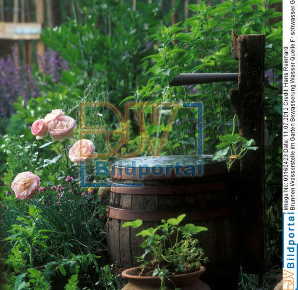 Titel: Brunnen Wasserstelle Im Garten Bewässerung Wasser Quelle  Frischwasser Grundwasser Dekoration. Bild No. 0003160423