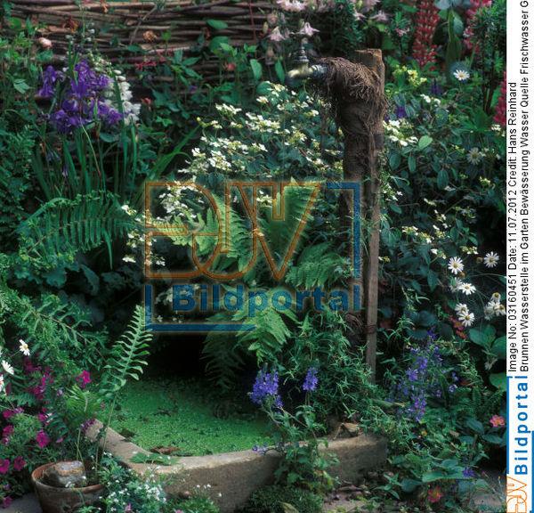 Titel: Brunnen Wasserstelle Im Garten Bewässerung Wasser Quelle  Frischwasser Grundwasser Dekoration. Bild No. 0003160451