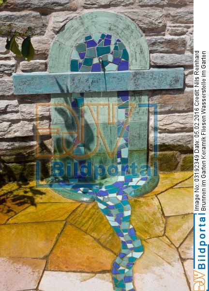 Details zu #0003192349 - Brunnen im Garten Keramik Fliesen ...