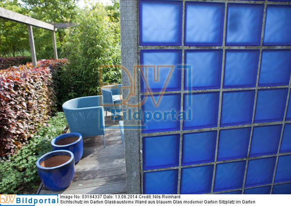 details zu 0003184337 sichtschutz im garten glasbausteine wand aus blauem glas moderner. Black Bedroom Furniture Sets. Home Design Ideas