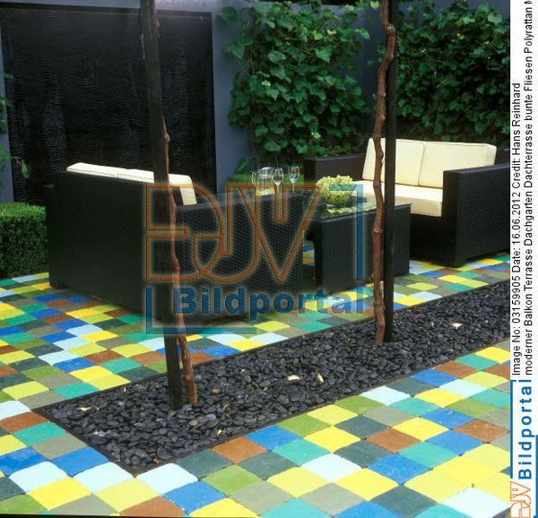 details zu 0003159905 moderner balkon terrasse dachgarten dachterrasse bunte fliesen. Black Bedroom Furniture Sets. Home Design Ideas